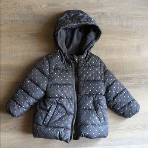 Toddler girl polka dot puffer jacket